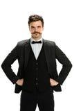 Homem de negócios novo With Hands nos quadris Fotografia de Stock