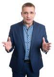 Homem de negócios novo isolado feliz Fotografia de Stock Royalty Free