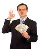 Homem de negócios novo. Isolado no branco. Foto de Stock Royalty Free
