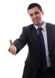 Homem de negócios novo pronto para o aperto de mão Foto de Stock Royalty Free