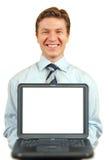 Homem de negócios novo que apresenta um portátil, tela com Imagem de Stock Royalty Free