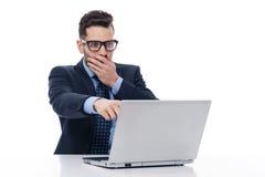 Homem de negócios novo surpreendido Fotografia de Stock
