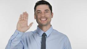 Homem de negócios novo Waving Hand a dar boas-vindas vídeos de arquivo