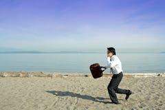 Homem de negócios ocupado Imagens de Stock Royalty Free
