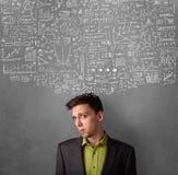 Homem de negócios pensativo com cartas acima de sua cabeça Imagens de Stock