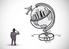 Homem de negócios pensativo com conceito do turismo Imagens de Stock