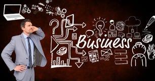 Homem de negócios pensativo com os ícones que cercam o texto do negócio Imagens de Stock Royalty Free