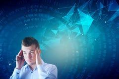 Homem de negócios pensativo com teste padrão do negócio Imagens de Stock
