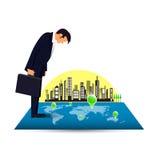 Homem de negócios pensativo que olha o mapa com alvos no fundo da cidade Imagens de Stock Royalty Free
