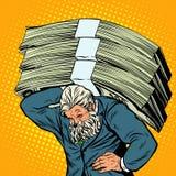 Homem de negócios pesado do homem forte do dinheiro do atlas antigo ilustração do vetor