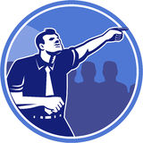 Homem de negócios Pointing Forward Woodcut ilustração stock