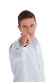 Homem de negócios Pointing seu dedo na câmera imagem de stock
