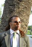 Homem de negócios por uma árvore imagem de stock