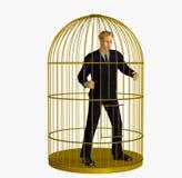 Homem de negócios prendido na gaiola - inclui o trajeto de grampeamento Imagem de Stock Royalty Free
