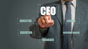 Homem de negócios Pressing Virtual Screen Imagem de Stock
