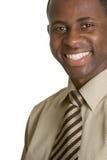 Homem de negócios preto de sorriso imagens de stock