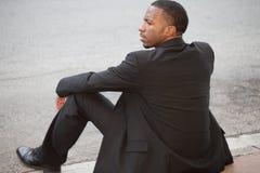Homem de negócios preto desempregado Foto de Stock Royalty Free