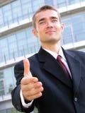Homem de negócios pronto para agitar as mãos fotos de stock