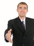 Homem de negócios pronto para agitar as mãos foto de stock royalty free