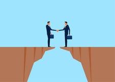 Homem de negócios que agita as mãos no penhasco Conexão de negócio, parceria, conceito da interação da cooperação ilustração stock