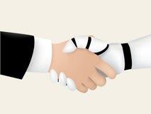 Homem de negócios que agita a mão com robô inteligente ilustração royalty free