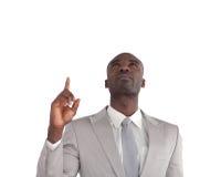 Homem de negócios que aponta acima imagem de stock royalty free