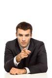 Homem de negócios que aponta em você fotografia de stock