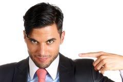 Homem de negócios que aponta nsi mesmo Foto de Stock Royalty Free