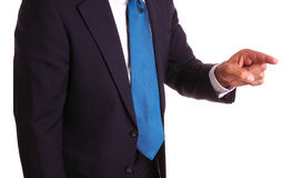 Homem de negócios que aponta o dedo Fotografia de Stock
