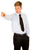 Homem de negócios que aponta seu índice imagens de stock