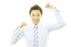 Homem de negócios que aprecia o sucesso Imagem de Stock