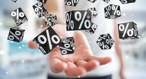 Homem de negócios que aprecia a rendição preta das vendas 3D de sexta-feira Fotos de Stock Royalty Free