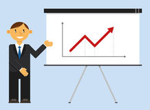 Homem de negócios que apresenta a carta de crescimento do negócio Imagem de Stock