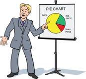 Homem de negócios que apresenta o gráfico de sectores circulares Imagem de Stock Royalty Free
