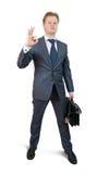 Homem de negócios que canta ESTÁ BEM Foto de Stock