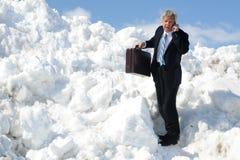 Homem de negócios que chega no céu Fotografia de Stock