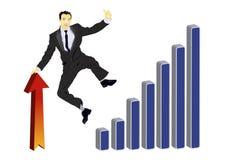 Homem de negócios que comemora seus sucesso e salto ilustração do vetor
