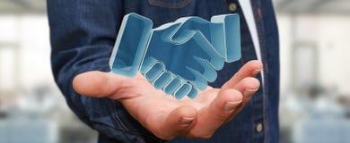 Homem de negócios que conclui uma rendição da parceria 3D Fotos de Stock