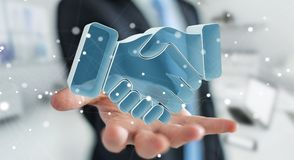 Homem de negócios que conclui uma rendição da parceria 3D Fotos de Stock Royalty Free