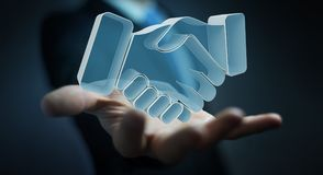 Homem de negócios que conclui uma rendição da parceria 3D Foto de Stock