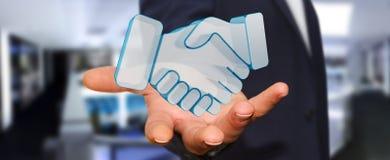 Homem de negócios que conclui uma rendição da parceria 3D Imagem de Stock Royalty Free