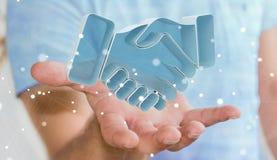 Homem de negócios que conclui uma rendição da parceria 3D Imagem de Stock