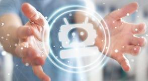 Homem de negócios que conversa com rendição da aplicação 3D do chatbot Imagens de Stock Royalty Free