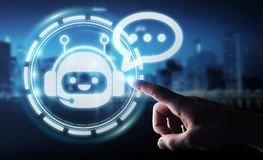 Homem de negócios que conversa com rendição da aplicação 3D do chatbot Imagem de Stock Royalty Free