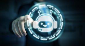 Homem de negócios que conversa com rendição da aplicação 3D do chatbot Fotografia de Stock