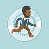 Homem de negócios que corre no fundo da engrenagem Foto de Stock Royalty Free