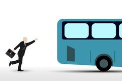 Homem de negócios que corre o ônibus Imagens de Stock