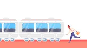 Homem de negócios que corre para travar a pressa subterrânea do bonde do transporte público da cidade do metro do trem acima dos  ilustração royalty free
