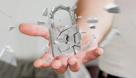 Homem de negócios que corta em rendição quebrada da segurança 3D do cadeado Foto de Stock