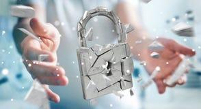 Homem de negócios que corta em rendição quebrada da segurança 3D do cadeado Fotos de Stock Royalty Free